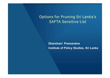 Options for Pruning Sri Lanka's SAFTA Sensitive List - icrier