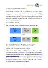 Informationen für Studierende, die ihr Studium verspätet aufnehmen