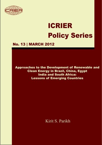 Approaches to the Development of Renewable and Clean ... - icrier