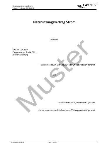 Netznutzungsvertrag Strom - EWE NETZ GmbH