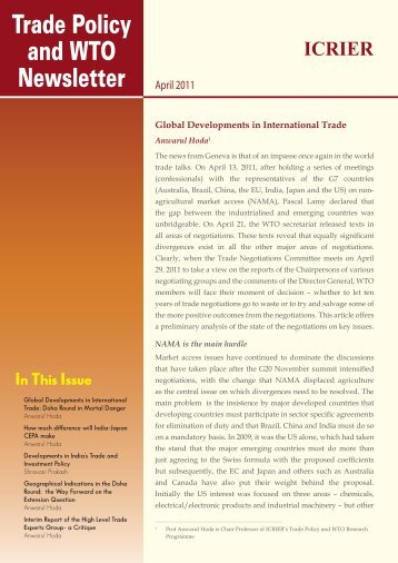 Trade Policy and WTO Newsletter (April 2011) - icrier
