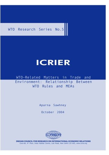WTO-Related Matters in Trade and Environment ... - icrier
