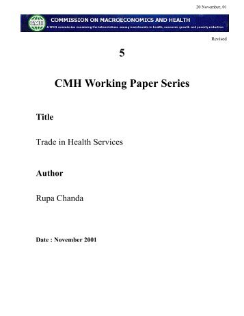 5 CMH Working Paper Series Title - icrier