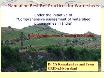 Manual on Best Bet Practices for Watersheds - Icrisat