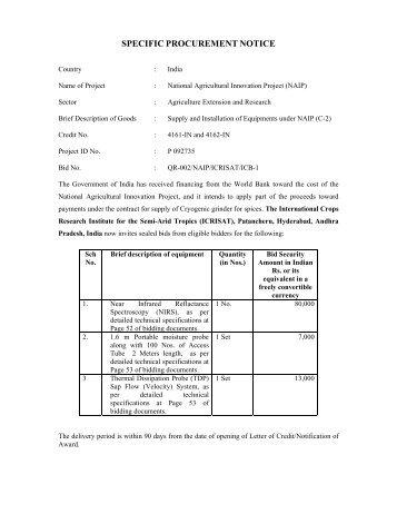 specific procurement notice - Icrisat