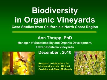 Biodiversity in Organic Vineyards - ICROFS
