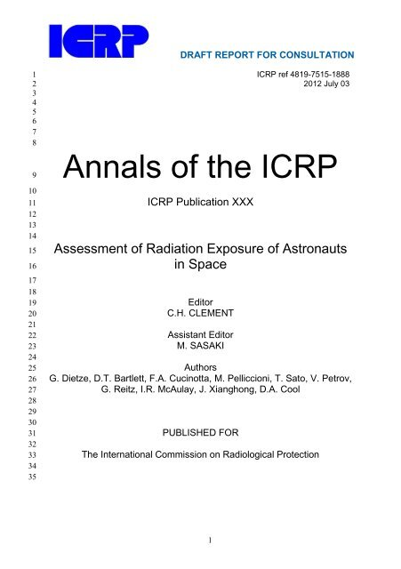 Assessment of Radiation Exposure of Astronauts in Space - ICRP