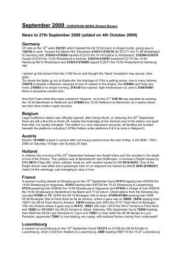 News to 27th September 2009 (added on 4th October 2009 ...
