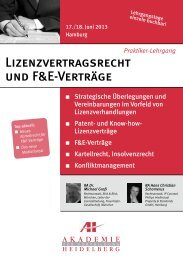 Lizenzvertragsrecht und F&E-Verträge - AH Akademie für ...