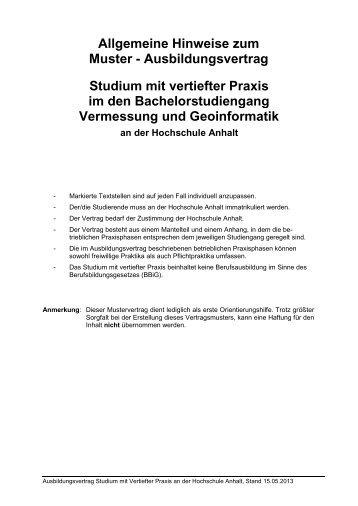 Muster Tutorium Honorarvertrag Hochschule Anhalt