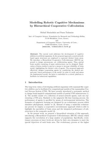 Modelling Robotic Cognitive Mechanisms by Hierarchical ...