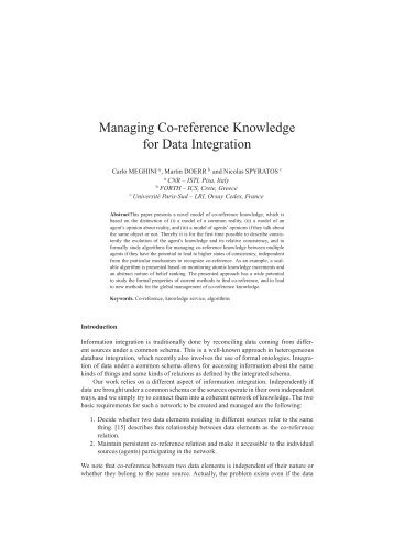 Managing Co-reference Knowledge for Data Integration - ICS
