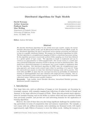 Distributed Algorithms for Topic Models - University of California, Irvine