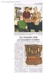 Artikel über Hafner in Steinach ,20. März 2010 im Straubinger Tagblatt