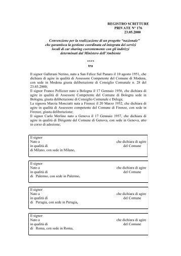 Bozza Protocollo di Intese tra Comuni e Ministero dell'Ambiente per l ...