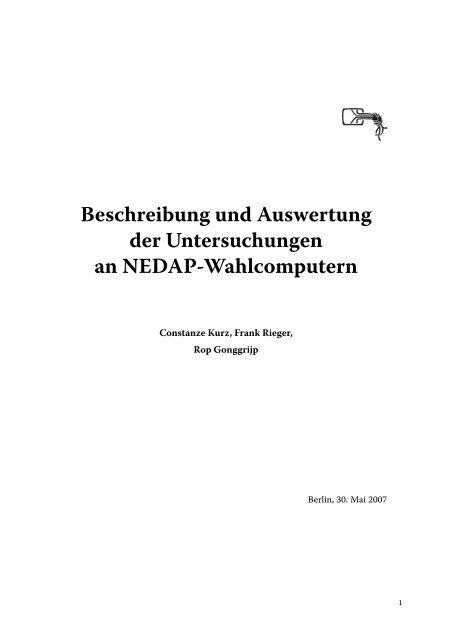Beschreibung und Auswertung der Untersuchungen an ... - CCC