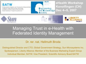 Managing Trust in e-Health with Federated Identity Management