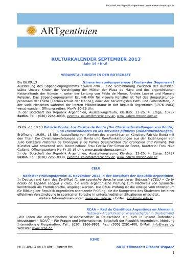 kulturkalender september 2013 - Embajada de la República ...