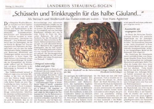 Schuesseln-und-Trinkkruegeln-fur-das-halbe-Gaeuland,Straubinger Tagblatt 22. Maerz-2010