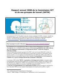 Rapport annuel 2008 de la Commission ICT et de ses groupes de ...