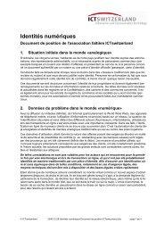 Document de position ICTswitzerland