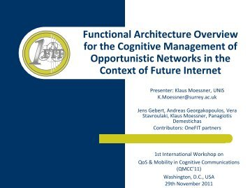 Functional Architecture Overview for the Cognitive ... - QoSMOS