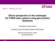 Ofcom perspective on the challenges for TVWS radio ... - QoSMOS