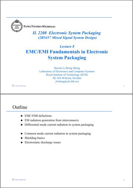 EMC/EMI Fundamentals in Electronic System Packaging Outline