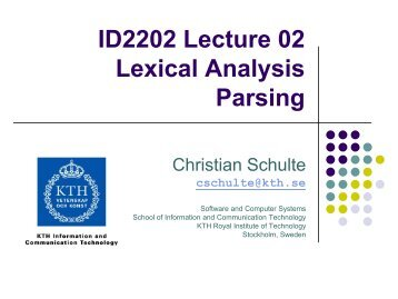 ID2202 Lecture 02 Lexical Analysis Parsing