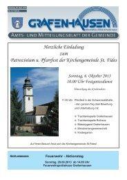 Mitteilungsblatt Nr. 19, KW 39 - Gemeinde Grafenhausen