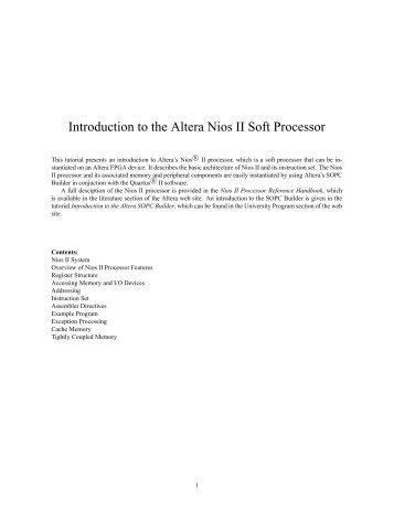Introduction to the Altera Nios II Soft Processor - FTP - Altera