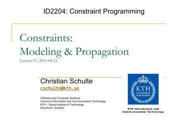 L07: Constraints: Modeling & Propagation