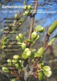 April / Mai 2013 - Evangelische Kirchengemeinde Bickenbach