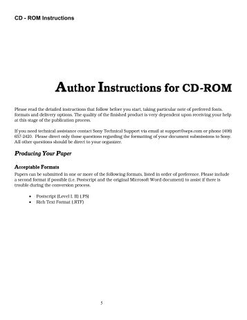 Author Instructions for CD-ROM