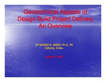 Geotechnical Aspects of Design Build Project Delivery An ... - ictpa-scc