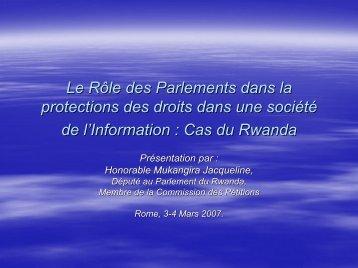 Le Rôle des Parlements dans la protections des droits dans une ...