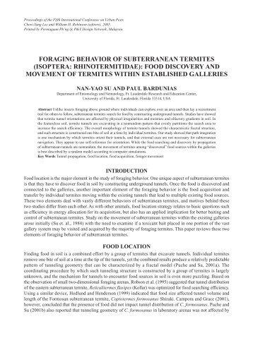 foraging behavior of subterranean termites (isoptera: rhinotermitidae)