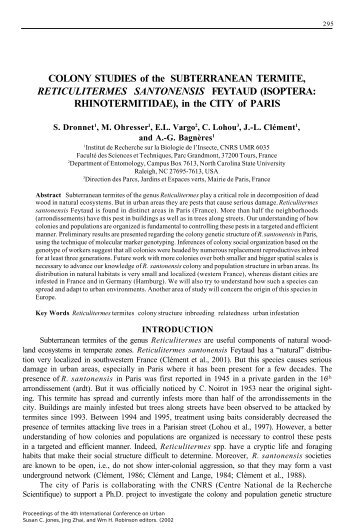 COLONY STUDIES of the SUBTERRANEAN TERMITE ...