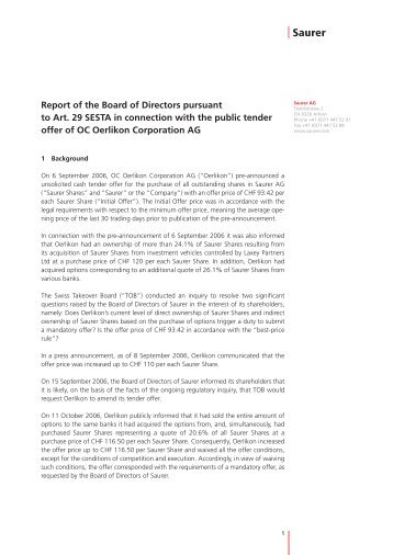 Report of the Board of Directors pursuant to Art ... - Oerlikon Barmag