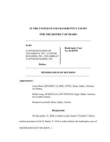 IN THE UNITED STATES BANKRUPTCY COURT ... - District of Idaho