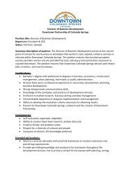 Director of Business Development Downtown Partnership of ...
