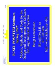 ECSEL POS/STEM Seminars Spring 1997: Models, Methods ... - IDA