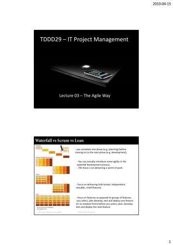 TDDD29 – IT Project Management - IDA - Linköping University
