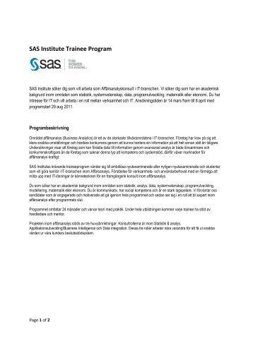 SAS Institute Trainee Program - IDA