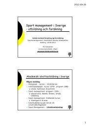 Sport management i Sverige - utbildning och forskning