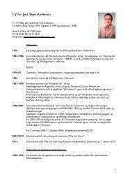 CV for Jens Sejer Andersen - Idrættens Analyseinstitut