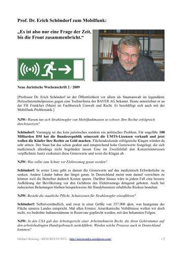 """Prof. Dr. Erich Schöndorf zum Mobilfunk: """"Es ist also nur eine Frage ..."""