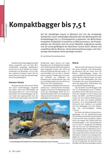 Kompaktbagger bis 7,5 t - Bauverlag