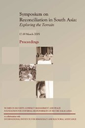 Reconciliation in South Asia: Exploring the Terrain - International IDEA
