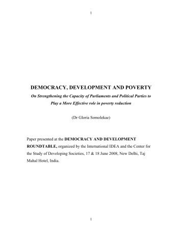 Democracy, Development and Poverty - On ... - International IDEA